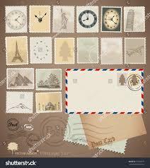 vector set vintage stamp designs envelope stock vector 151654577