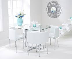 algarve glass stowaway dining table with white high back stools