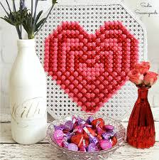 Valentines Day Vintage Decor oversized cross stitch heart on pressed cane for diy valentine u0027s