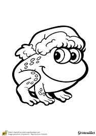 Dessin à colorier Grenouille avec un bonnet de Noël