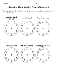 drawing clock hands time in words 1 grade 3 free printable