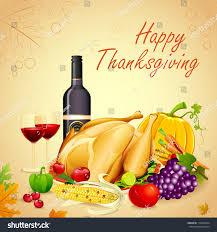 illustration turkey fruits wine thanksgiving dinner stock vector