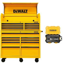 tool chest and cabinet set dewalt 52 in steel tool chest cabinet combination yellow dwmt74952