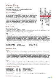 Teachers Resume Sample by Sample Substitute Teacher Resume Jennywashere Com