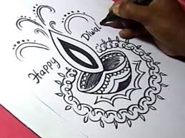 how to draw diwali greeting drawing step by step for kids youtube