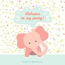 birthday card with baby elephant vector free