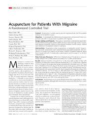 acupuncture for patients with migraine a randomized controlled