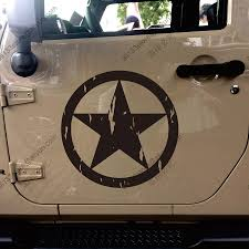 jeep army decals distressed style us army star ww2 willys car trunk decal sticker
