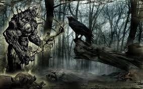 halloween forest background forest raven monster fantasy dark creature wallpaper 1920x1200