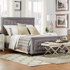 Tufted Headboard And Footboard Q Bellevista Grey Button Tufted Square Upholstered Size Bed