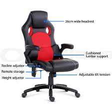 8 point massage executive office computer chair heated recliner pu