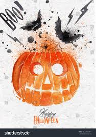 pumpkin halloween poster lettering stylized drawing stock vector