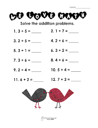 Addition Worksheets Single Digit Valentine Worksheets For Second Graders Valentines Day Math