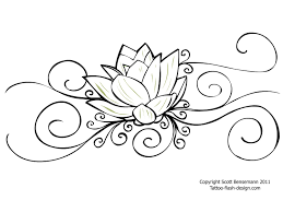 tribal and outline flower tattoo design