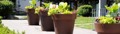 decoration avec des pots en terre cuite pot de fleurs extérieur aménagement urbain et paysager