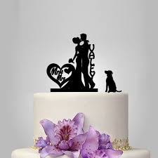 dog wedding cake toppers and groom wedding cake topper silhouette with dog custom