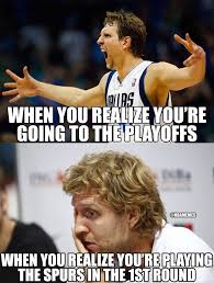 Funny Spurs Memes - dirk nowitzki mavericks vs spurs nba playoffs meme san antonio