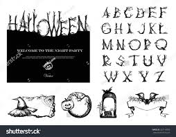 vintage halloween pattern background hand drawn vintage halloween vector set stock vector 322118393