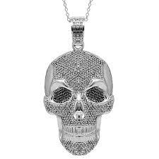 gold mens necklace pendants images 10k solid white gold mens diamond skull pendant with black jpg