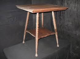 antique spindle leg side table victorian era oak parlor table end table side table with spindle