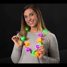 led purple green orange bulb necklace for haunted houses