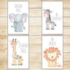 Animal Wall Decor For Nursery Safari Nursery Decor Nursery Wall Baby Animal Prints