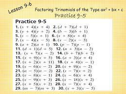 factoring trinomials of the form x2 bx c worksheet worksheets