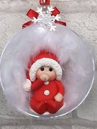 Baby S First Christmas Bauble Ebay by Personalised Fimo Christmas Bauble With Name Baby U0027s First Or