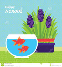 happy persian new year card template illustration with fish and