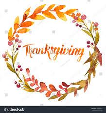 thanksgiving watercolor illustration wreath garland circle stock