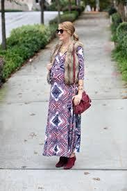 style under 40 pink blush maternity navy print draped maternity