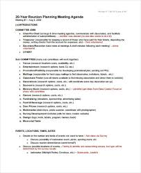 9 reunion agenda templates free word pdf format download