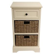 decor therapy urban farmhouse antique white 3 drawer basket end