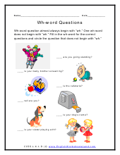 using question words worksheets