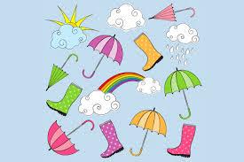 rainy day clip art illustrations creative market