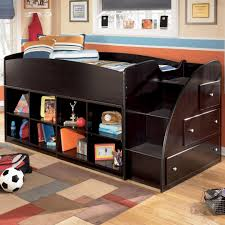 twin loft bed with right storage steps and bookcases by signature