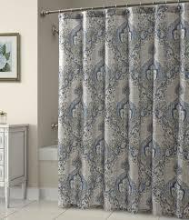 bathroom fixtures geometric damask blue and tan shower curtain