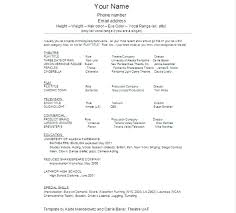 Resume Template For Actors by Acting Resume Template Student Actor Resume Template Theatre