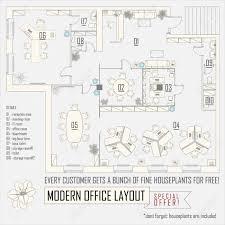 modern office interior vector layout with furniture royalty free