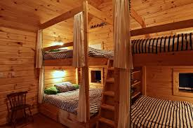 Stacked Bunk Bed Kids Rustic With Triple Decker Bunk Beds Dimmer - Rustic wood bunk beds
