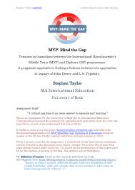 myp mind the gap ma assignment