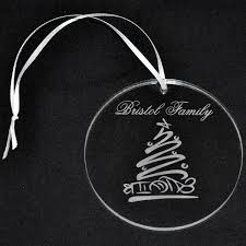 clear personalized acrylic ornament with engraved whimsical tree