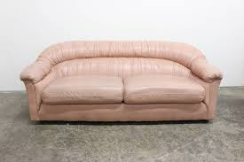 Colored Leather Sofas 80 U0027s Style Glam Blush Colored Leather Sofa At 1stdibs