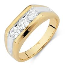 men s ring ring with 1 carat tw of diamonds in 10ct yellow gold