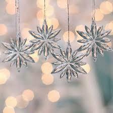 miniature acrylic snowflake ornaments snow snowflakes glitter