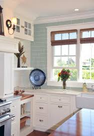 Coastal Kitchen Designs by White Kitchen With Acqua Tile To Ceiling Open Shelving Mixed With