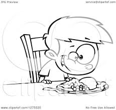cartoon clipart of a black and white happy boy smiling down at his