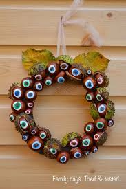 autumnal conker wreath halloween wreath family days tried and