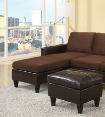 Small Black Leather Chair Poundex Sectional W Free Ottoman Leather Sectionals
