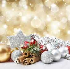 Silver And Gold Holiday Decorations Christmas Decorations On A Glittery Gold Background Stock Photo